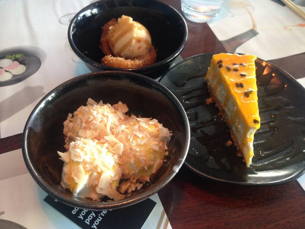 Clockwise - Banana Katsu, Passionfruit Cheesecake, Coconut Reika