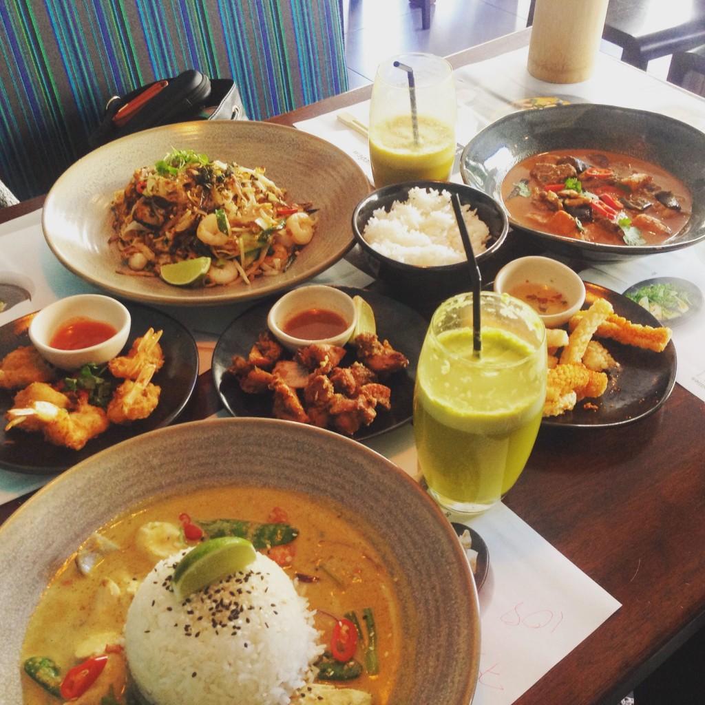 From top to bottom - Chicken & Prawn Pad Thai, Beef Massman Curry, Ebi Katsu, Tori Kara Age, Chilli Squid, Chicken Raisukaree