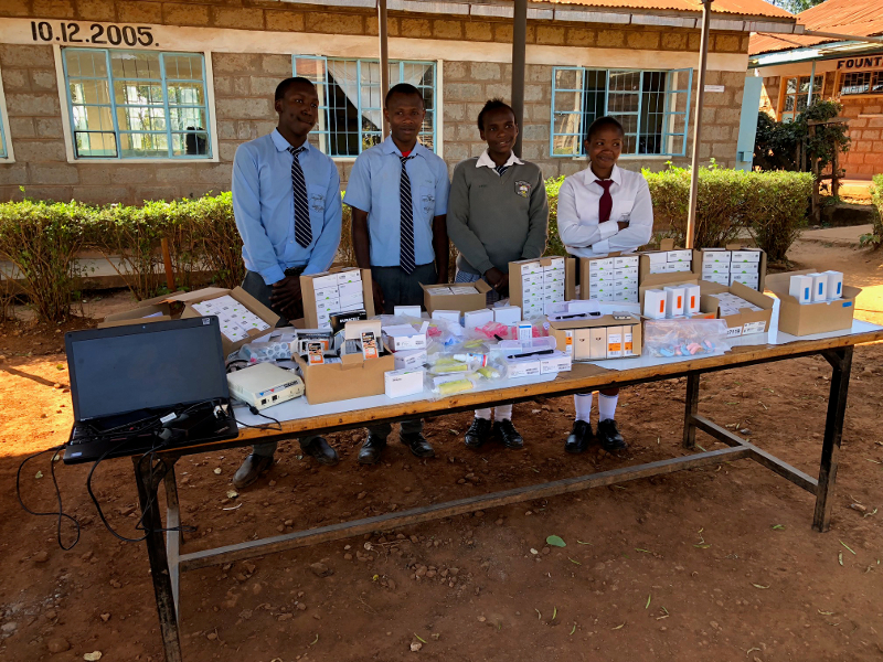 Students with donated equipment